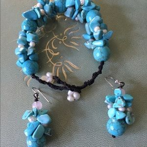 Beautiful Handmade Turq. & Freshwater Pearl Set